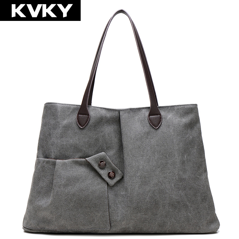 KVKY Fashion Women Canvas Handbags Vintage Travel Shoulder Bags Causal Large Capacity Shopping Bag Female Shoulder Toto Bolsas mojoyce women travel shopping bags summer beach big shoulder bags ladies large capacity canvas striped messenger tote bag