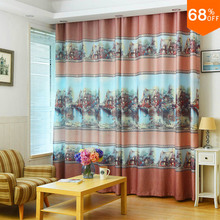 Village ELEGANT Oil Painting Light Peach Print Blackout Curtain Wholesale  For Hotel Curtains Door Curtains Drapery Rural Wind
