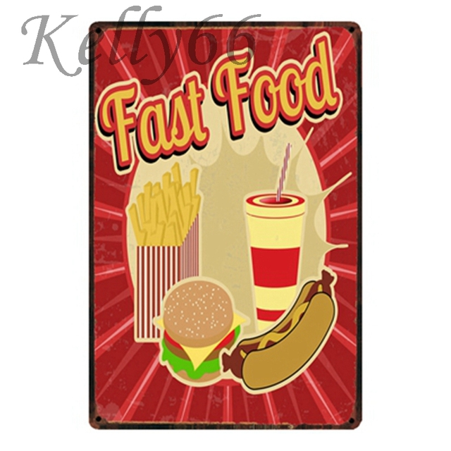 Kelly66 ] FAST FOOD Vintage Metal Sign Tin Poster Home Decor Bar ...
