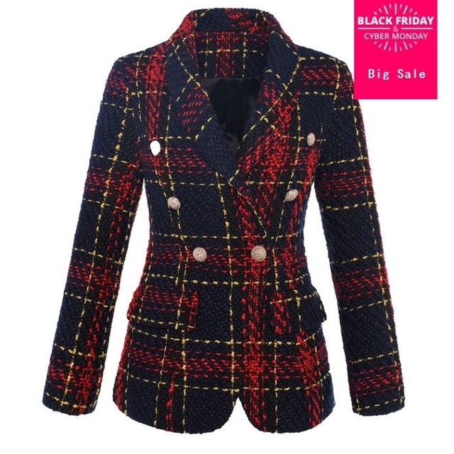 Autumn Fashion Blazer Women's Coat Double Breasted Metal Buttons Plaid Tweed Wool Blazer Outercoat Casual Suit Overcoat L1362
