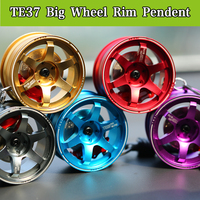 Big TE37 Style Wheel Rim Rear View Mirrow Pendent Keychain Keyring Key Chain Key Ring Keyfob
