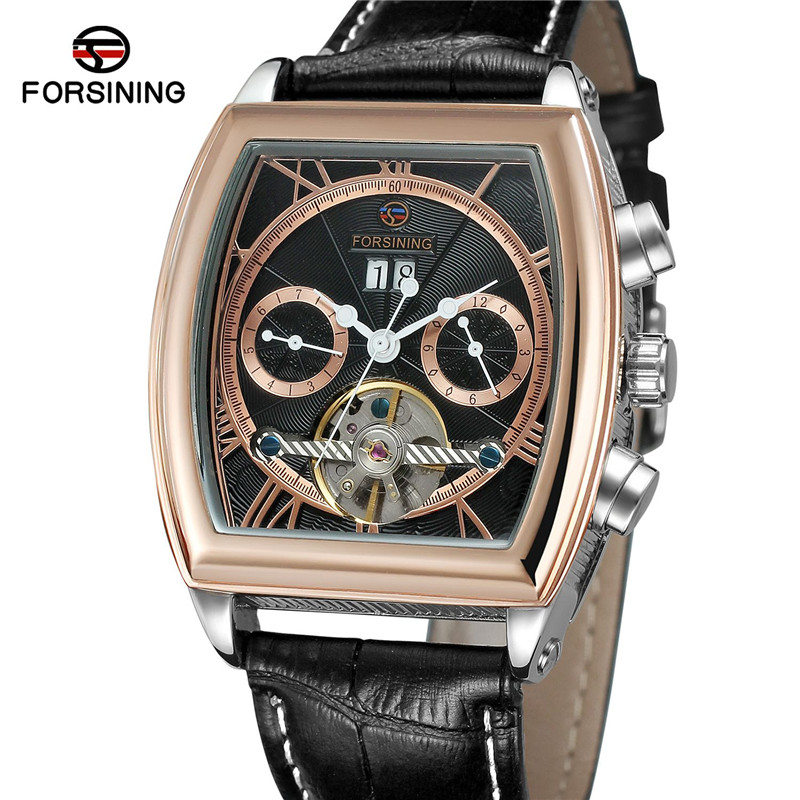 Forsining Tourbillon Men Watch Automatic Mechanical Mens Watches Top Brand Luxury Sport Army Military Skeleton Male Clock 0600 2017 forsining leather automatic watch mens watches top brand luxury sports men military waterproof tourbillon mechanical watch
