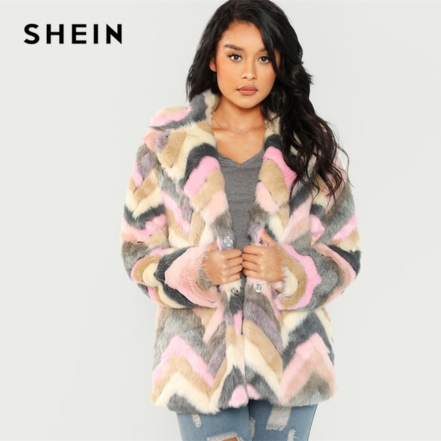 42947aaea8 SHEIN Multicolor Casual Colorblock Faux Fur Notched Chevron Teddy Coat  Autumn Modern Lady Thermal Women Coats And Outerwear