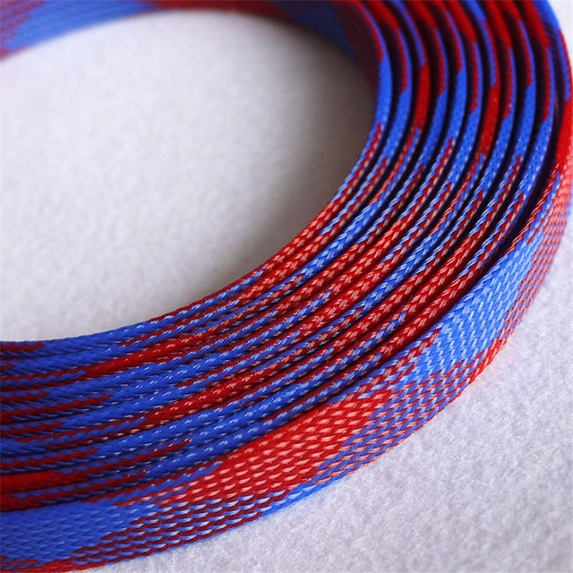 1 Meters High quality Red & Blue 16mm Braided PET Expandable ...