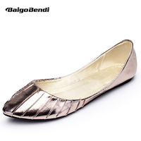 Gold Silver US Size 5 9 Comfort Leather Slip On Fashion Casual Pleated Ballet Flats Shoes