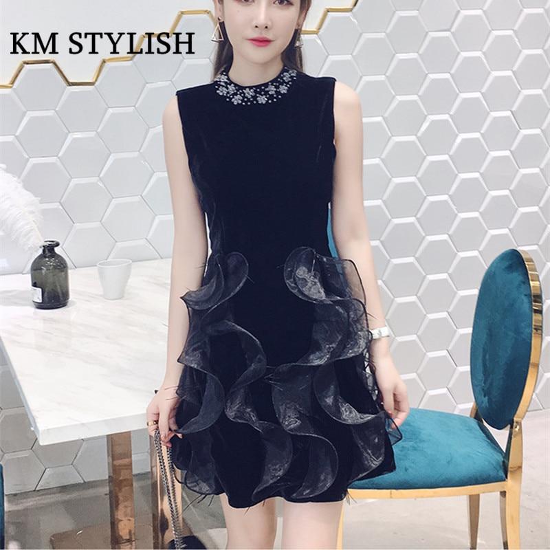 2018 New Elegant Beading Neck Ostrich Feather Ruffles Black Dress Sleeveless Annual Banquet Noble Dress Female