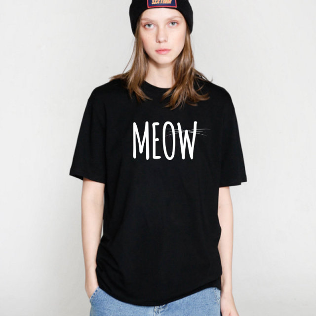 2017 Cotton Meow Print Women T shirt