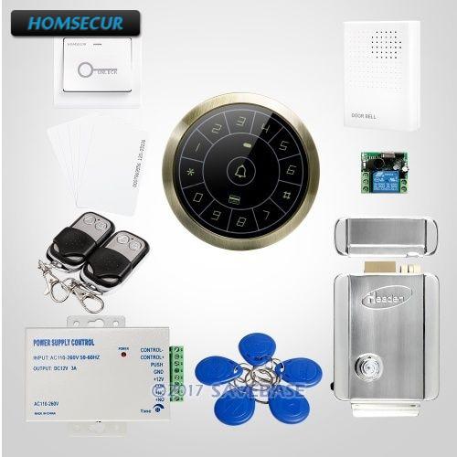 HOMSECUR 125Khz RFID Metal Case Access Control +Electric Lock With Keys + Tamper Alarm+Doorbell homsecur waterproof 125khz rfid access control system with 8000 user capacity tamper alarm function doorbell