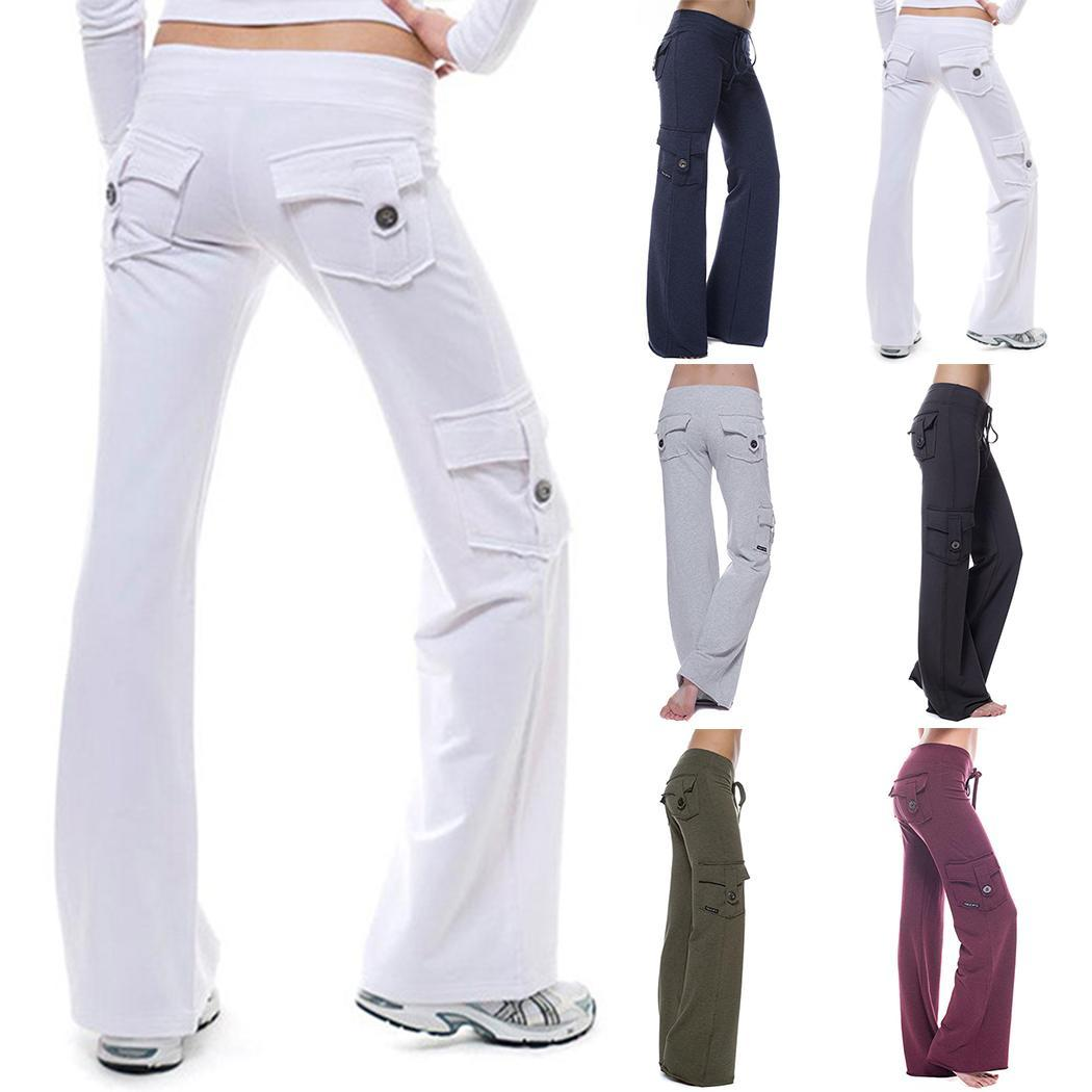 New Fashion Women Yoga Fitness Running Solid Multi-pockets Gym All seasons Stretch Sports Pants