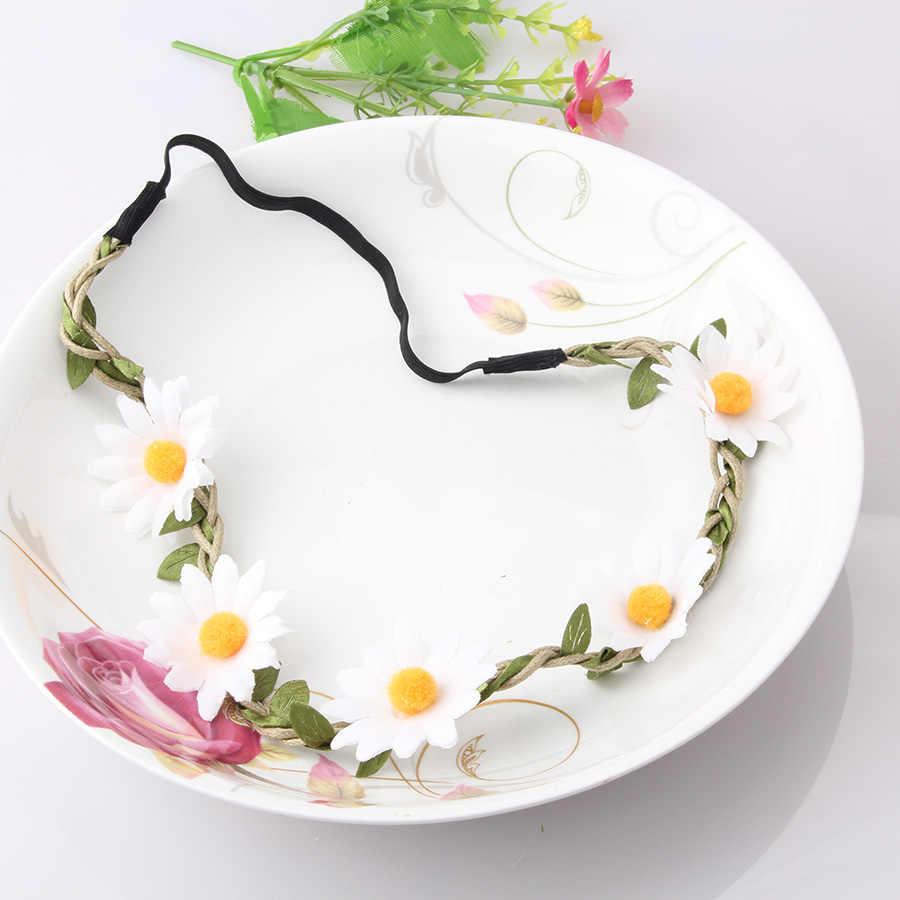 MISMO Mulheres Floral Acessórios Para o Cabelo Headband Do Boêmio Noiva Tiara de Flor Artificial Do Cabelo Elástico Headband Meninas Crown Bezel