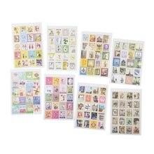 30 paquets/lot Vintage pliant timbres autocollants bricolage multifonction autocollant romantique étiquette décoration de la maison divers styles en gros