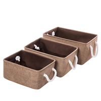 3Pcs/set Cover less Cotton Linen Storage Baskets Double layer Storage Box Canvas Clothes Toy Car Storage Compartment