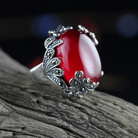 S925 Sterling Silver Ornaments Atmospheric Folk Wind Ladies Seiko Red Fused Alumina Rings