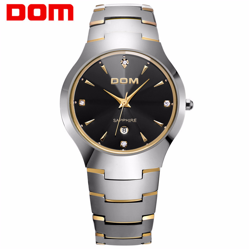 где купить business men quartz watches tungsten steel men's watch DOM luxury brand wristwatches waterproof calendar diamond man clocks дешево