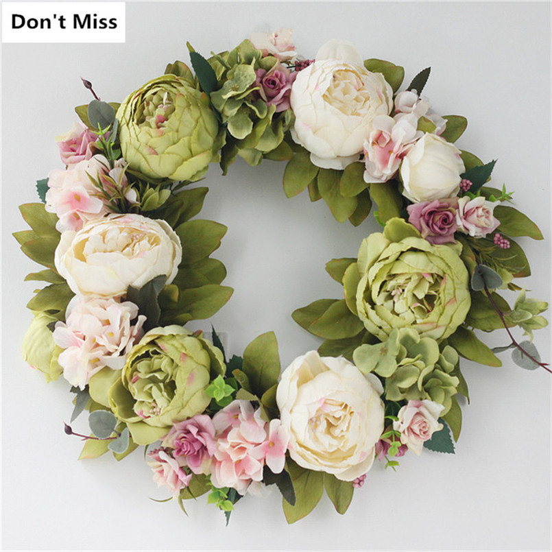Peony Artificial Flowers Wreaths Door Perfect Quality Simulation Floral Garland for Wedding Decoration Home Party DecorazioniPeony Artificial Flowers Wreaths Door Perfect Quality Simulation Floral Garland for Wedding Decoration Home Party Decorazioni