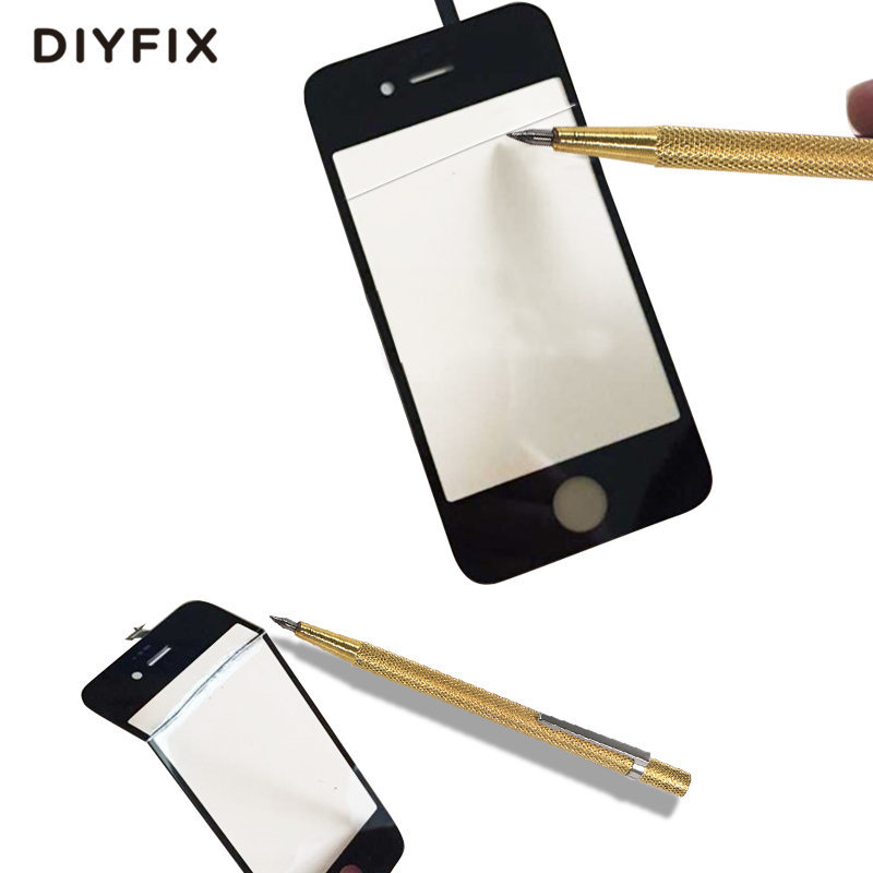 DIYFIX Professional Glass Cutting Pen with Non Slip Metal Handle for Mobile Phone Tablet Screen Glass Cutter Repair Tool