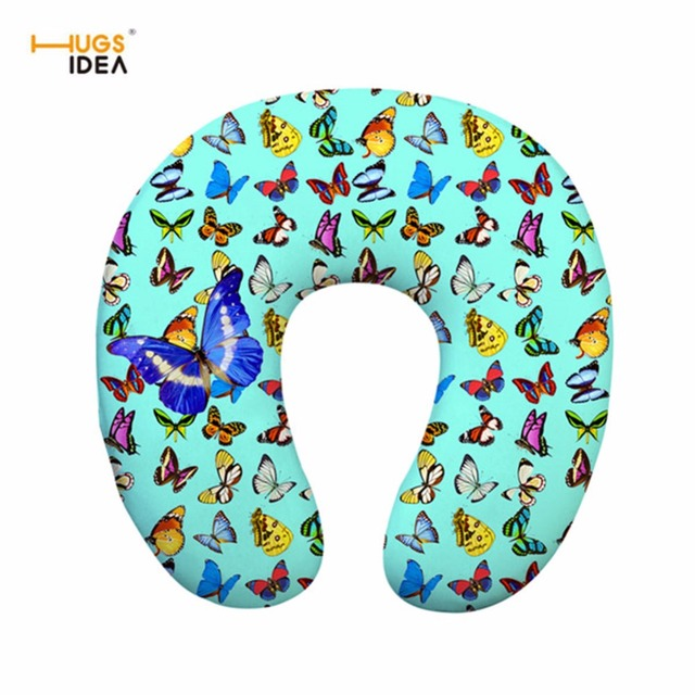 Home Design U-neck Travel Support Pillow Part - 32: HUGSIDEA Butterfly Memory Foam U Shaped Travel Pillow Car Airplane Neck  Support Head Rest Cushion For