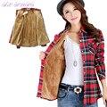 Новый осень зима женщины рубашки теплый рубашка плюс размер толстый бархат с длинным рукавом хлопок повседневная блузка клетчатую рубашку женщин, DJ7047