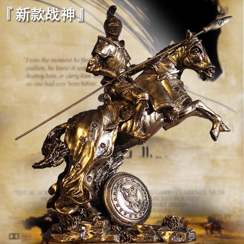 Vintage abstrait romain armure guerrier résine Sculpture médiéval samouraï chevalier bataille cheval Statue accessoires de décoration de la maison