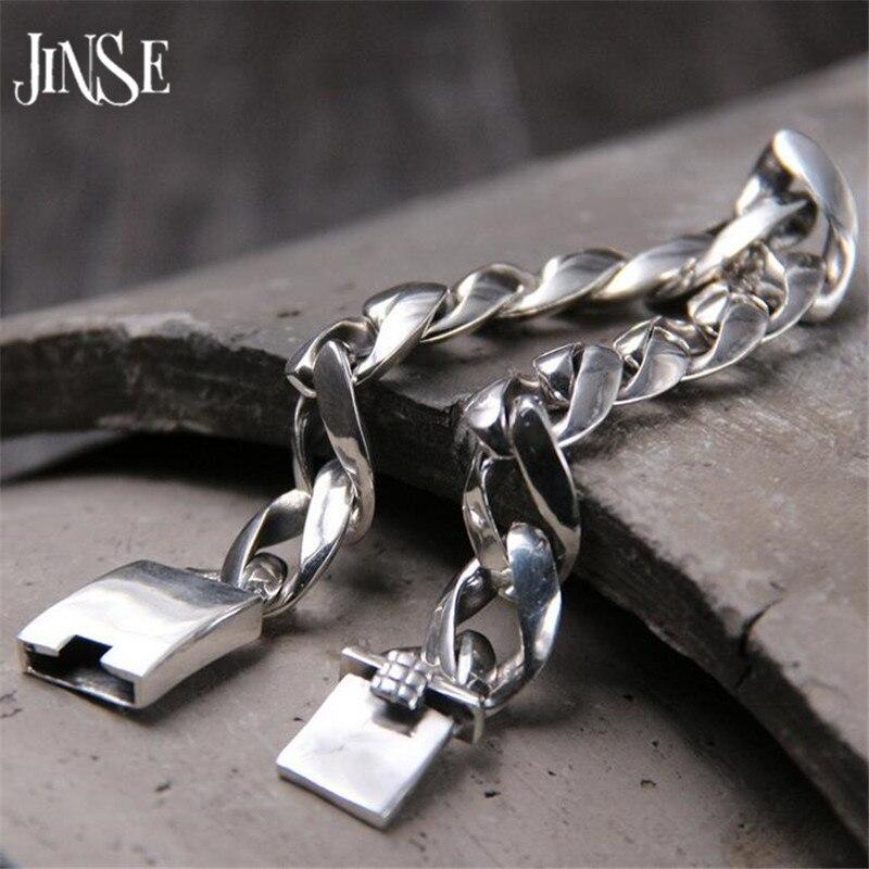 JINSE stříbrný náramek vánoční dárky vinobraní 20cm 22cm S925 pevné thajské stříbrné řetízek náramek pánské ženy šperky