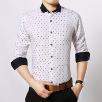 Toturn 브랜드 셔츠 남성 긴 소매 남성 셔츠 도트 남성 코튼 레드 블랙 화이트 남성 셔츠 인과 그리드 체크 셔츠 Silm