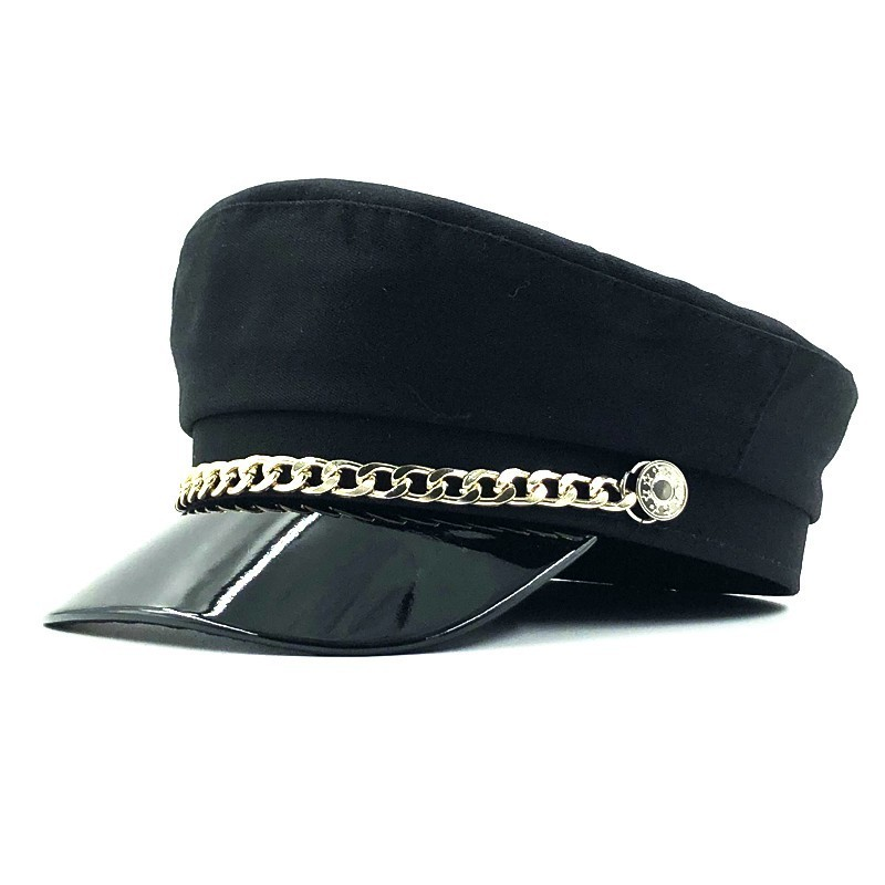New winter hats women wool newsboy caps chain decoration visor caps female vintage military hats