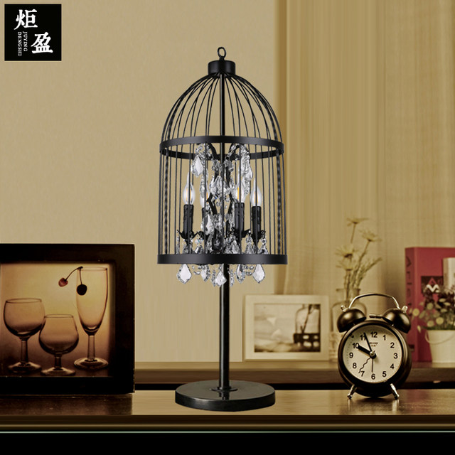 Online Shop American Country Table Lamp Crystal Iron Cage Living
