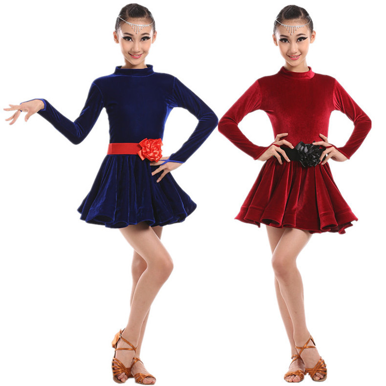 Kidst dancer costumes Sexy dance Latin Multi-Color Tango Ballroom Dance Dress Flowers one-piece dress 100-160cm