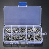 340pcs M3 3mm A2 Stainless Steel ISO7380 Button Head Allen Bolts Hexagon Socket Screws With Hex