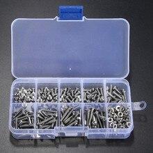 340 unids M3 (3mm) Botón de Cabeza Allen Tornillos ISO7380 Acero Inoxidable A2 Tornillos Allen Tornillos Con Tuercas Hexagonales Kit Surtido