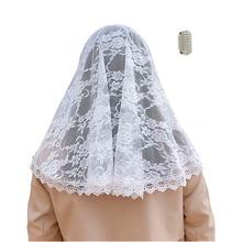 ISHSY Kadın Başörtüleri Dantel Veils için Kilise Headcovering HeadWrap Katolik Latin Kitle Şapel Peçe Mantilla Negra de Novia 2019