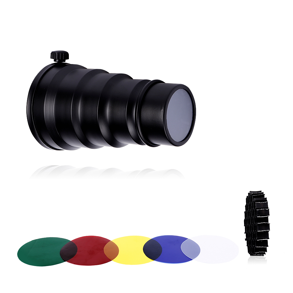 CY conische flits Snoot Light Modifier met 50 graden Honeycomb kleurenfilter voor Canon Nikon fotografie Speedlite op de camera