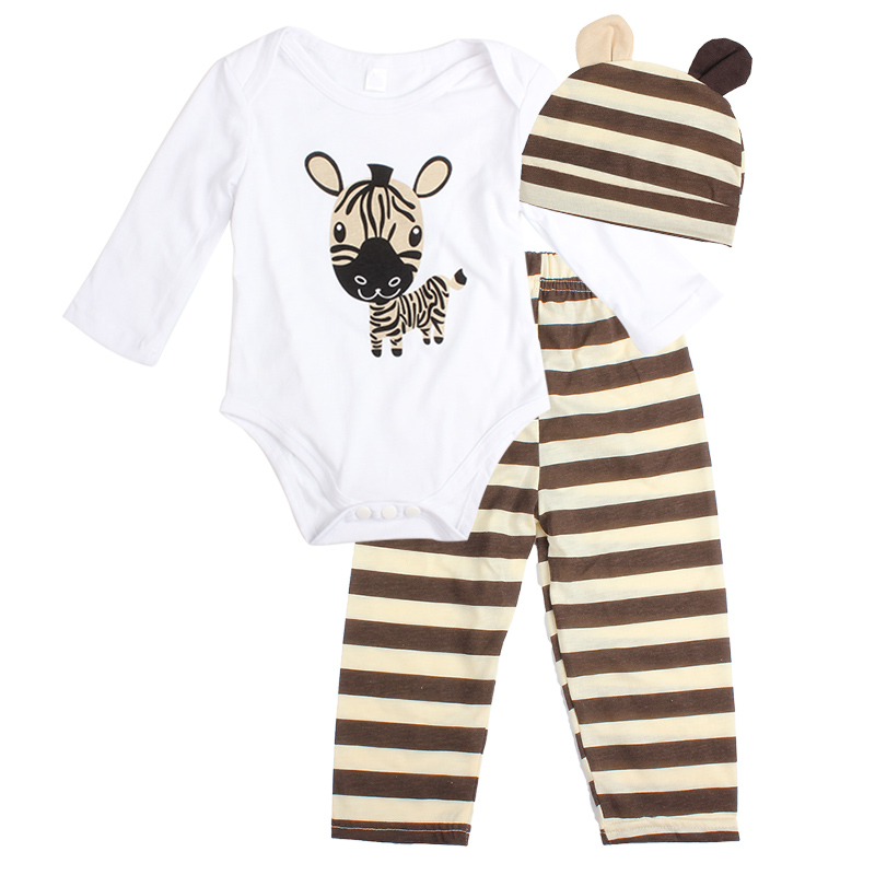 3PCS Baby Cotton Romper Set Infant Newborn Boys Girls Cartoon Animal Costume Clothing Sets Cute Jumpsuit +Hat+Pants Barboteuse