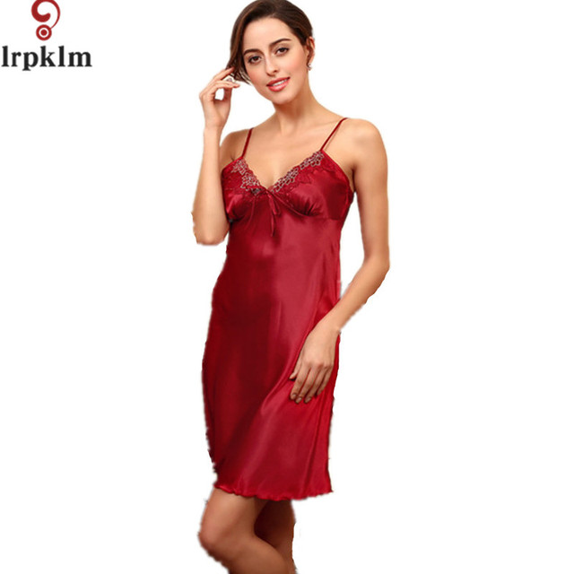 68fc5ccdbf5ba2 US $21.7 |Frauen Faux Silk Sleepwear Nightgown Frauen Nachthemd Satin  Spaghetti Strap Falsche Seide Nachthemd Frauen Satin Nachtwäsche SY92 in  Frauen ...
