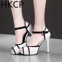 HKCP Summer 2019 new leather sandals high heel waterproof platform thin medium color fishmouth C203