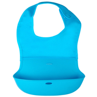 Crtartu 1 Piece Blue Nylon Cloth Silicone Medium Baby Bib Waterproof Rice Dumplings Water Tank 35