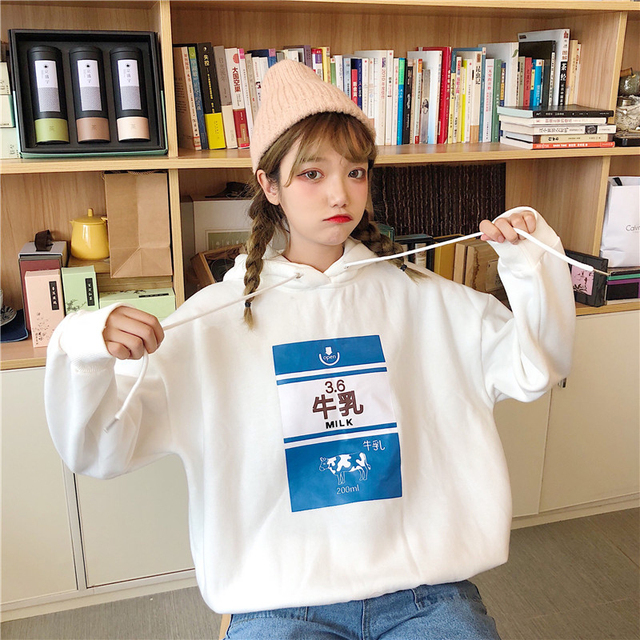 Japan Korean Lolita Kawaii Student Fashion Strawberry Milk Letter Print Hooded Sweatshirt Autumn Winter Jumper Pullover Hoodies