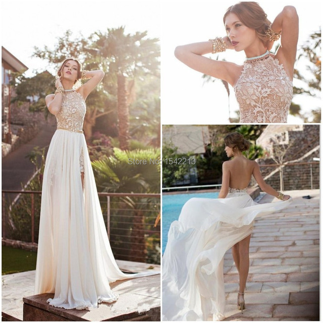 Vestido De Renda High Neck Backless Sexy Beach Lace Wedding Dress Short Style Bridal Gown Detachable