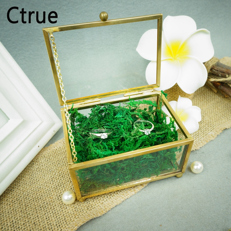 Unique Wedding Favors Hexagonal Geometric Ring Box Flower Jewelry Bearer Pillow For Decorations