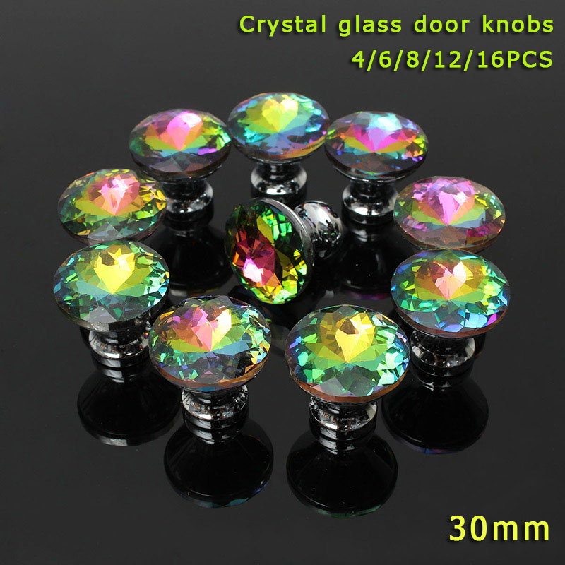 4/6/8/12/16 Pcs/Set Colorful Clear Crystal Glass Door Knobs Furniture Handle For Drawer Cupboard Cabinet Wardrobe CLH@8 96mm fashion deluxe glass clear black crystal villadom furniture decoration handle 3 8 gold drawer cabinet wardrobe door pulls