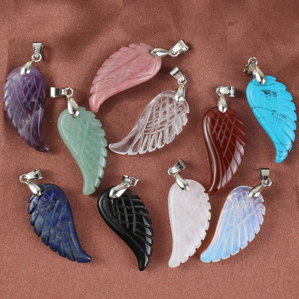 Kraft-pärlor Silverpläterad Pink Quartz Färgglada Stones Angel Wings Rock Crystal Hängsmycke Opalite Opal Wedding Decoration Smycken