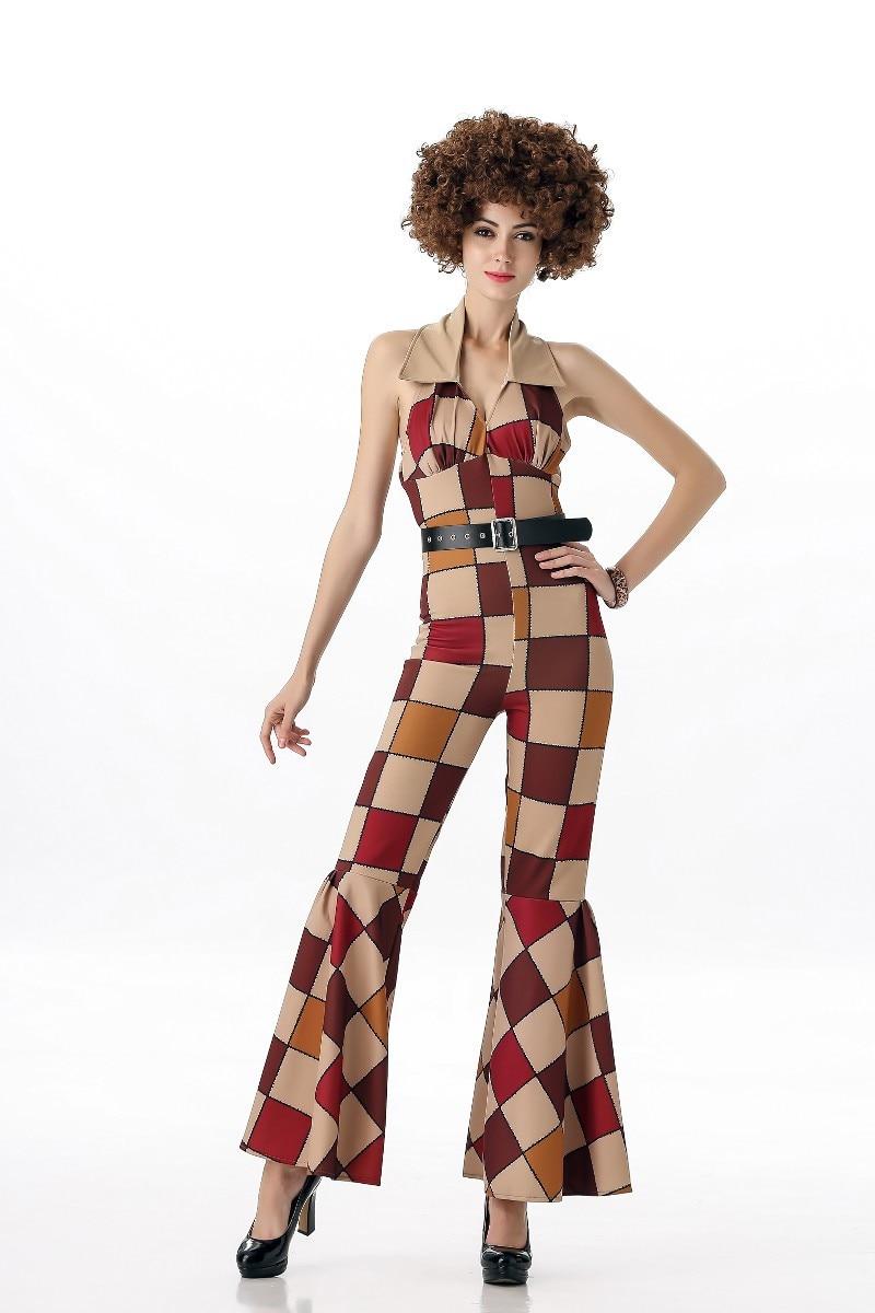 70/'s Disco Diva Vintage Groovy Funky Jumpsuit  Ladies Fancy Dress Costume S-L