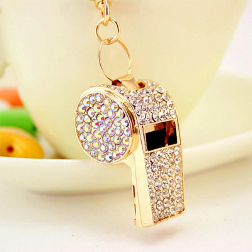Aluminum Alloy Whistle  Keychain Football Diamond Souvenirs Gift Soccer Supplies