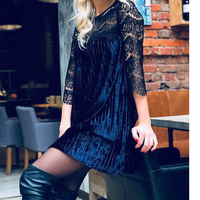 Women Winter Lace Dress Fashion Pleating Velvet Dress Vintage Half Sleeve Casual Elegant Party Dress WS4710R