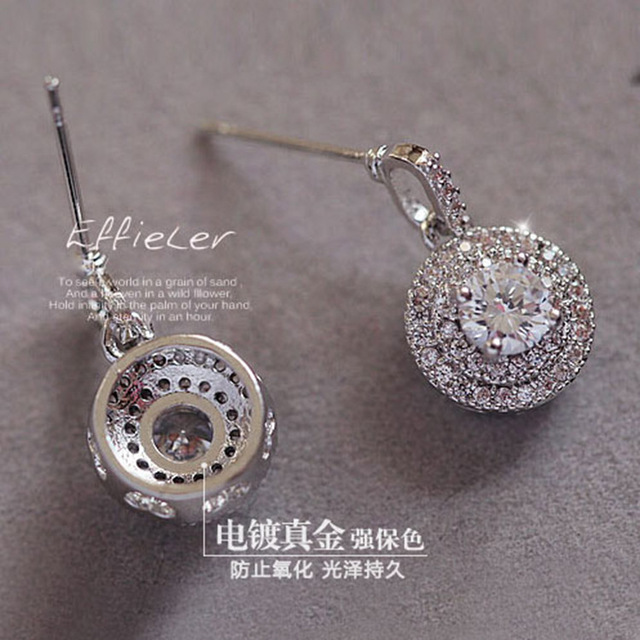 SALE 925 silver Europe Crystal from Swarovski new fashion creative cz Earrings classic retro micro set hot jewelry