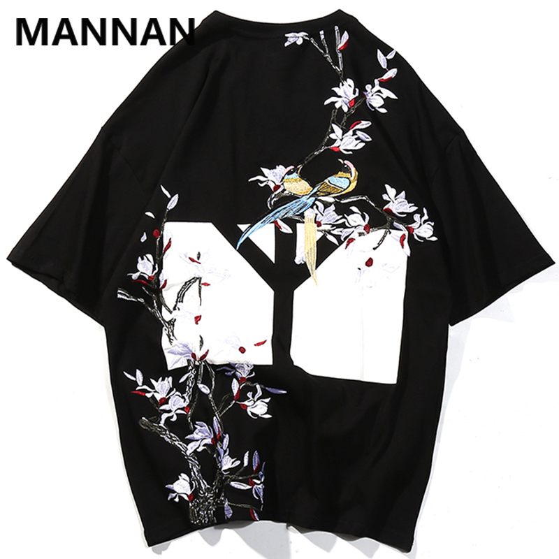 MANNAN Chinese Flowers Birds Anti War Print Tshirts Streetwear Men Hip Hop Casual Short Sleeve T Shirts Tops Male Fashion 2019