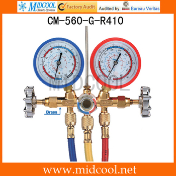For R410 With Sight Glass Brass Testing Manifolds CM-560-G-R410