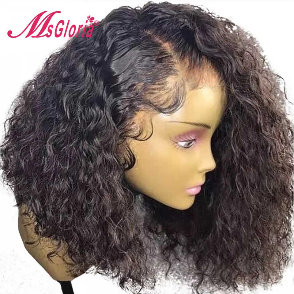 Peluca Frontal de encaje 360 para mujeres Color negro brasileño Remy rizado encaje Frontal pelucas de cabello humano con pelo de bebé Natural cabello
