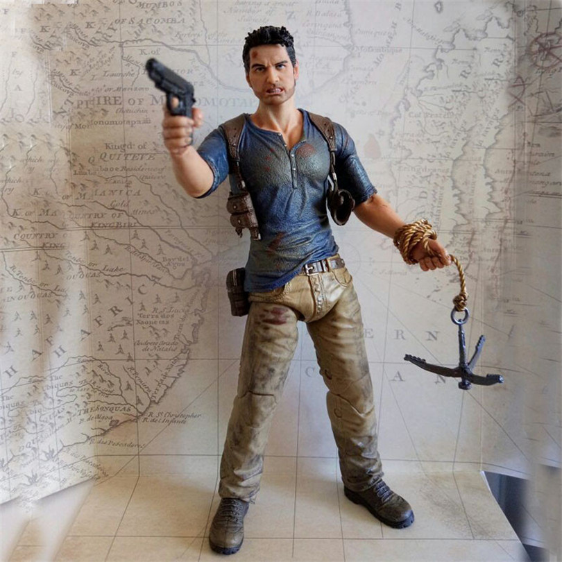 все цены на  Action Figure toys Uncharted Sir Francis Drake Circle Anime Game from Collector's Edition Nathan Drake PVC Action Toy 17CM  онлайн