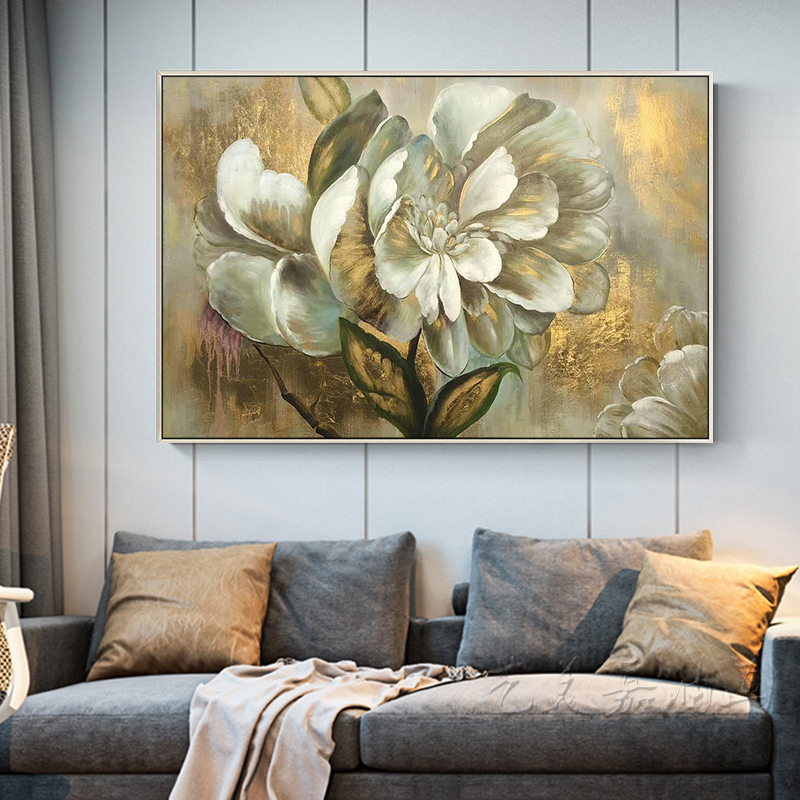 100 Hand painted golden flowers Art Oil Painting On Canvas Wall Art Wall Adornment pictures Painting For Live Room Home Decor in Painting Calligraphy from Home Garden